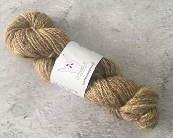Yellow and Brown, Hand Spun, Wool/Sparkle, Worsted Weight, Yarn, 58g, 157m