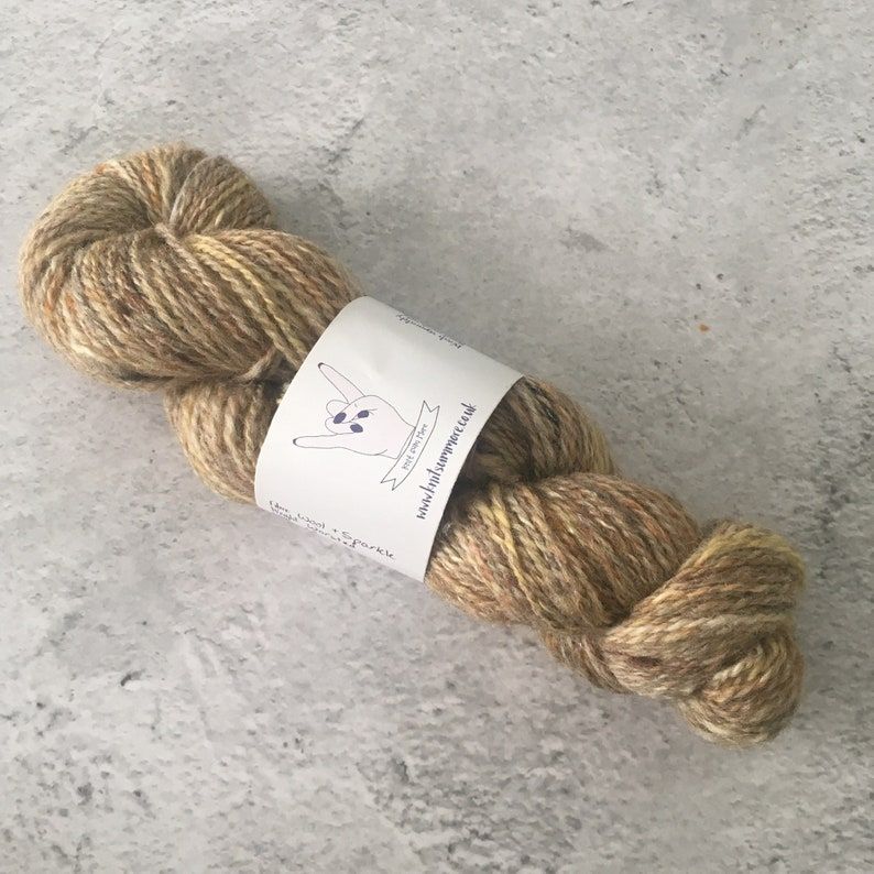 Yellow and Brown Hand Spun Wool/Sparkle Worsted Weight image 0