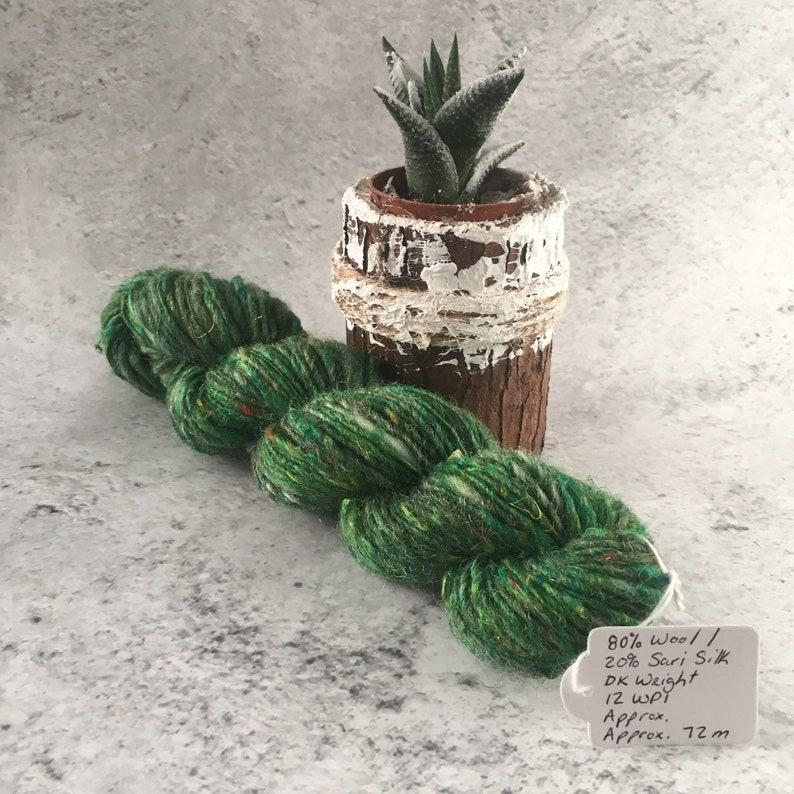 Emerald Green Hand Spun 80/20 % Wool/Sari Silk DK Weight image 0