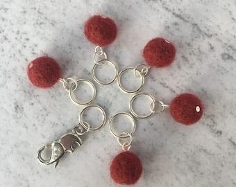 Snag free Stitch Markers, Rust, Burnt Orange, Set of 6, Elephant Locking Stitch Marker, on Safety Pin, for Knitting.