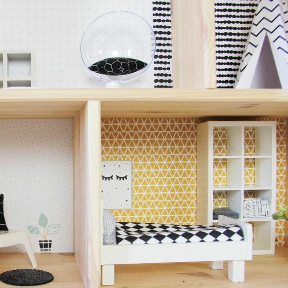Dollhouse Carta Da Parati Flisat Ikea Adesivi Adesivi Accessori Dollhouse Lamina Di Mobili Arredamento Vivaio Rosa Senape Mobili Non