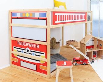 KURA Sticker, IKEA, Fire Truck, Fire Brigade Bed, Ikea Kura, Kura bed, Decal, Foil Furniture, Stickers, Film (bed NOT included)
