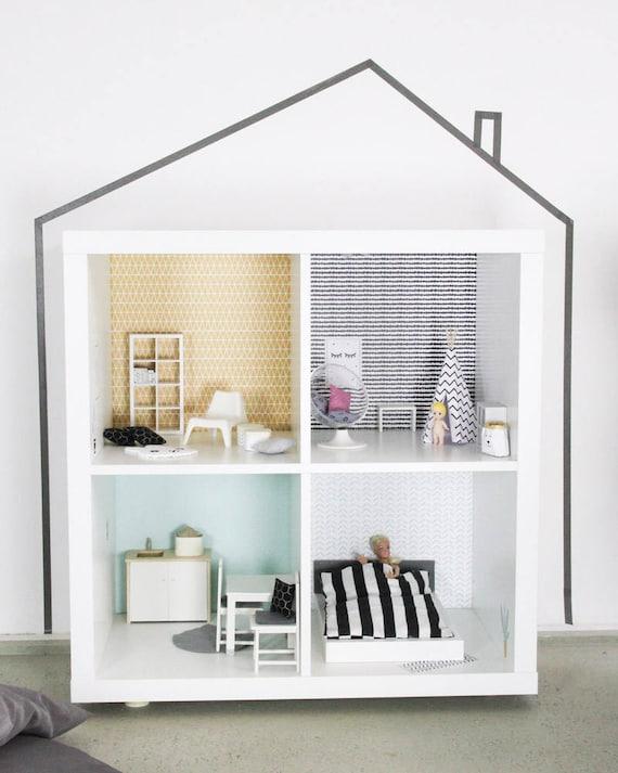 Puppenhaus kallax ikea aufkleber puppenhaus zubeh r etsy - Ikea puppenhaus mobel ...