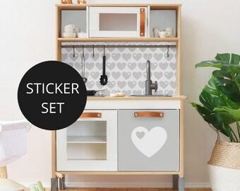 Sticker, IKEA DUKTIG, play kitchen, children's kitchen, decal, furniture foil, adhesive foil, children's room, grey (furniture NOT included)