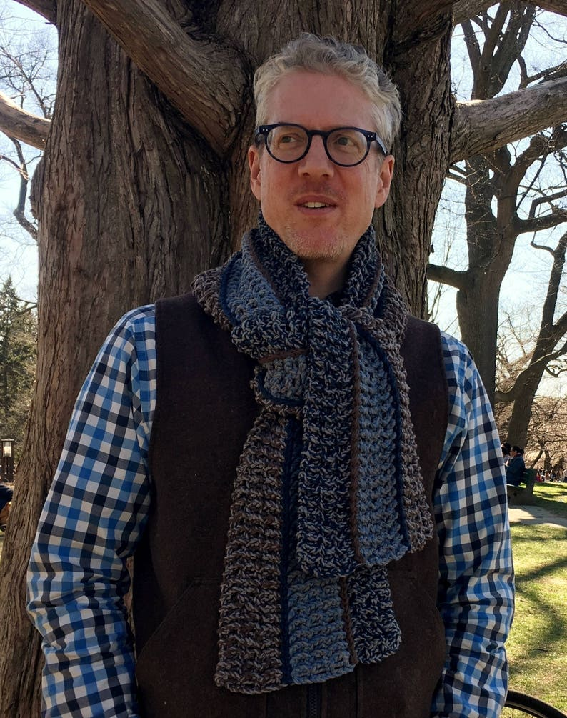 Mens Crochet Scarf Pattern Easy Crochet Scarf Pattern Etsy