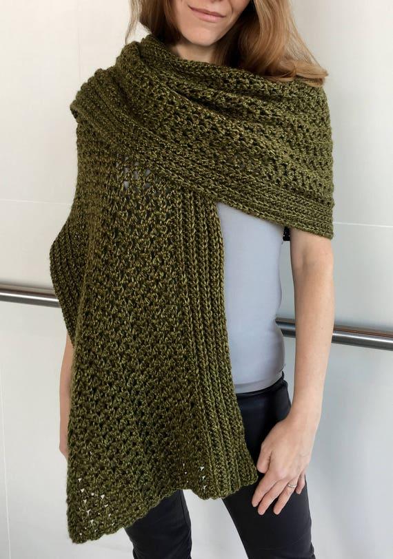Easy Crochet Scarf Pattern Shawl Crochet Pattern Crochet Etsy