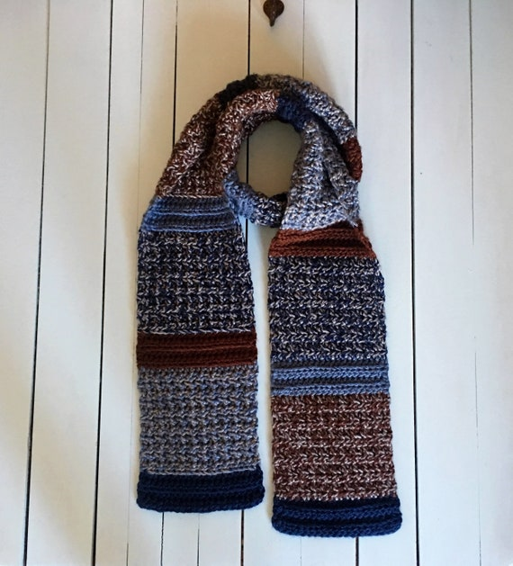 Crochet Scarf Pattern For Men Mens Scarf Crochet Pattern Etsy