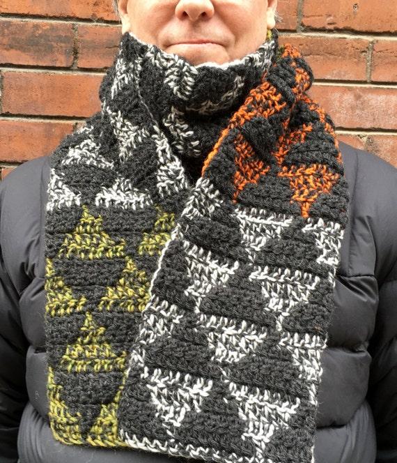 Mens Scarf Crochet Pattern Mens Crochet Scarf Pattern Etsy