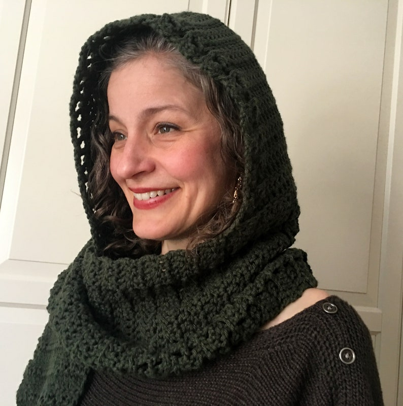 Crochet Hooded Scarf Pattern Scoodie Crochet Pattern Hooded Etsy