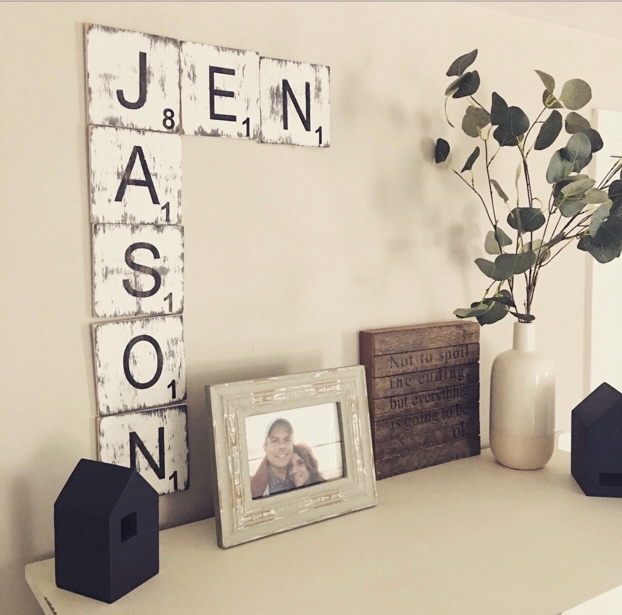 Farmhouse wall decorlarge scrabble wall tilesdistressed home decor handcrafted home decorgallery wallscrabble tiles wedding gift
