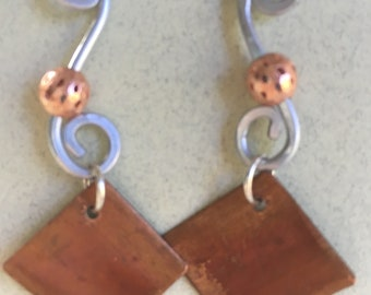 Copper and aluminum earrings