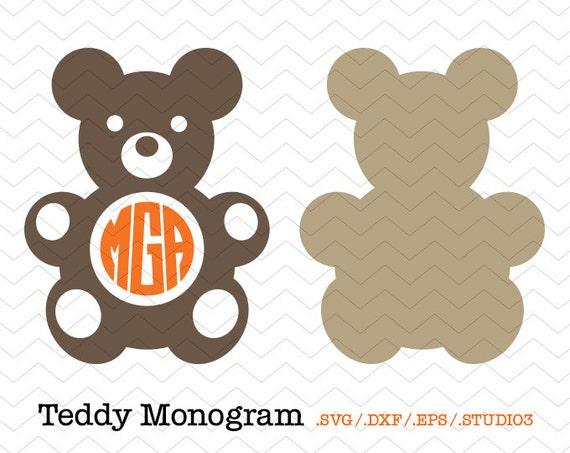 Teddy Circle Monogram Frame SVG DXF EPS Studio3 Bear | Etsy