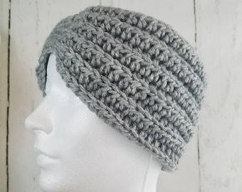 Evie Ear Warmer.Ready to Ship//SILVER HEATHER Ear Warmer//Crochet Warmer//Headband//Ribbed Ear Warmer//Head Wrap