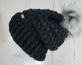 Piper Slouch Beanie.Ready to Ship//CHARCOAL HEATHER Slouch// Heather CHARCOAL Beanie//Pom Pom//Crochet Hat//Puffy Hat//Ribbed Band