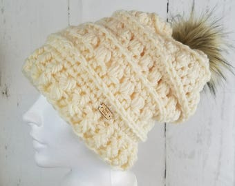 Mabel Toque.Ready to Ship//CREAM Slouch Hat//Faux Fur Pom Pom//Crochet Hat//Puffy Hat//Ribbed Band