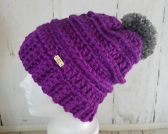 Cassie Beanie with POM-POM.Ready to Ship//VIOLET Purple Beanie//Over-sized Pom Pom//Crochet Beanie//Knit Beanie//Super Soft
