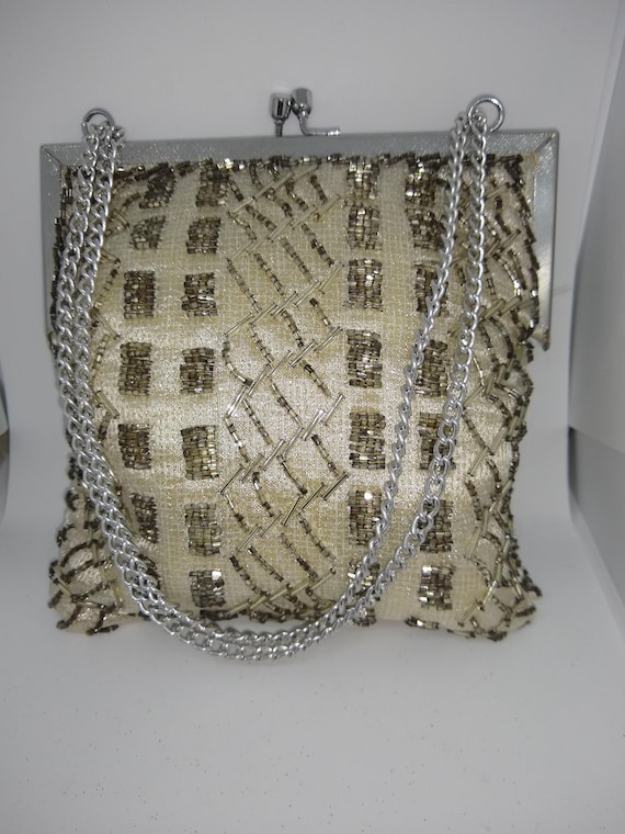 Pale Gold Sequin Vintage Evening Bag 1980s
