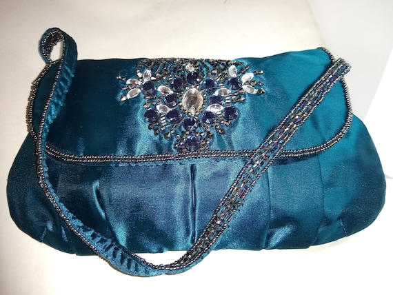 Teal Blue Satin Evening Bag Boots 1980s