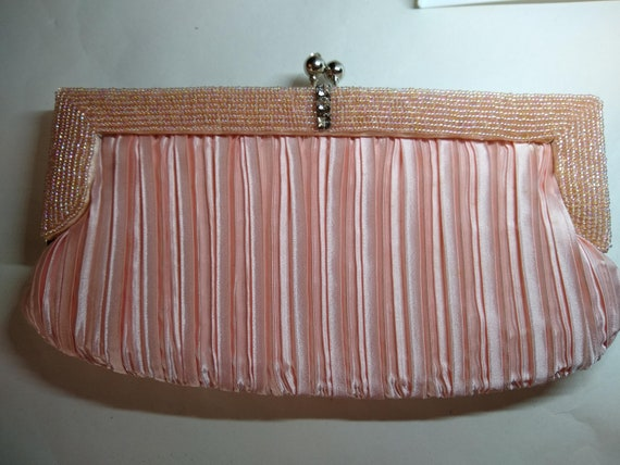 Peach Satin Evening Clutch Bag 1980s