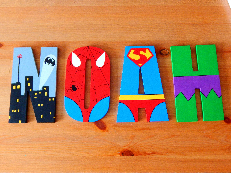 Superheld Buchstaben Holz Kinderzimmer Dekor Kinderzimmer
