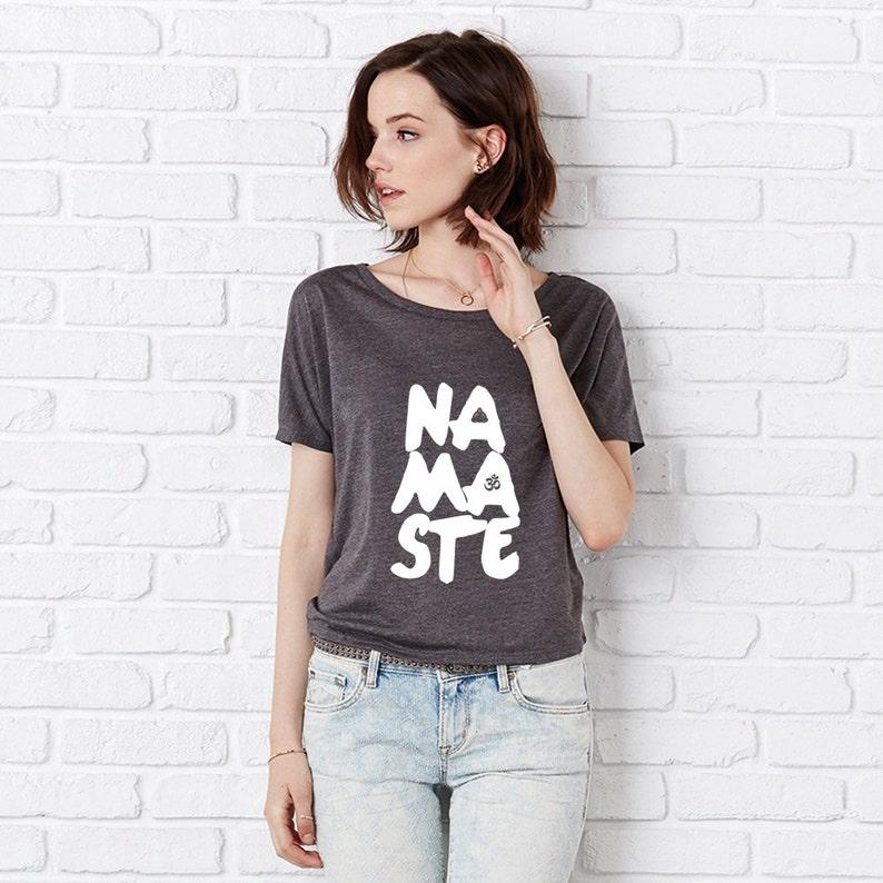 ff78ba4330 Namaste Flowy Open Back T Shirt Slouchy Fitness Top Yoga | Etsy