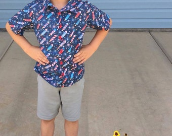 Boys Button Up Shirt with Shorts Sleeves Fireworks Fabric
