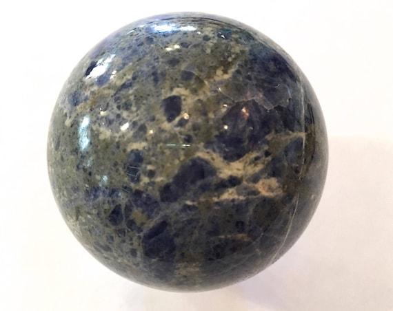 SODALITE Sphere// Polished Sodalite SPHERE// Crystal Ball// Gemstone Sphere/ Healing Gemstone// Home Decor/ Healing Tools// Third Eye Chakra