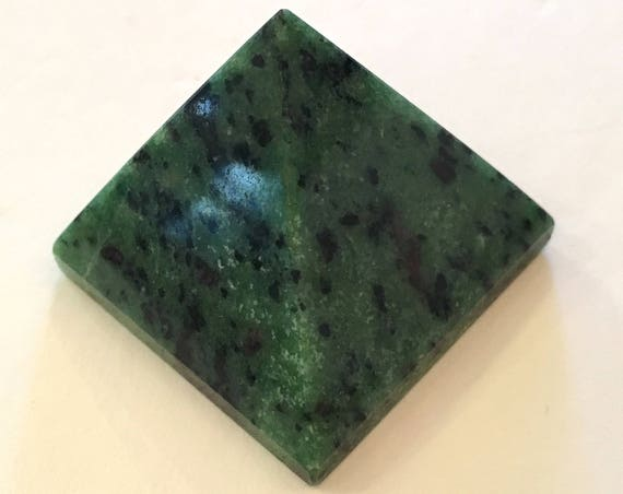 ZOISITE w/ RUBY Pyramid// Crystal PYRAMID// Stone Carved Pyramid// Healing Crystals// Healing Tools// Home Decor// Heart Chakra Stone