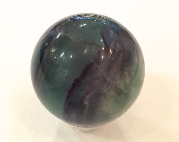 FLUORITE SPHERE// Healing Gemstone// Polished Sphere// Home Decor// Healing Tools// Rainbow Fluorite Sphere// Mental Clarity// Fluorite Orb