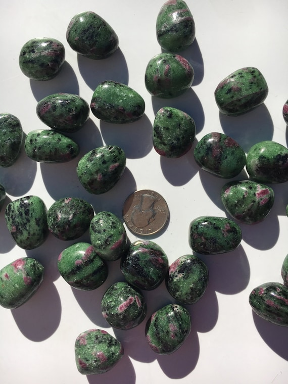 Beautiful Tumbled ZOISITE with RUBY Healing Gemstone// Tumbled Stones// Healing Crystals// Tumbled Ruby// Heart Chakra// July Birthstone