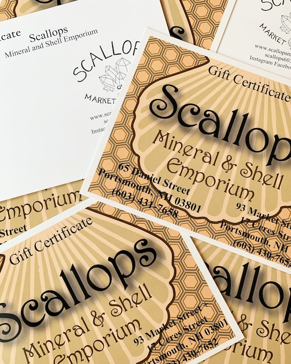 Scallops Gift Cards for Any Amount// Scallops Portsmouth// Scallops Mineral and Shell Emporium// Gift Cards// Any Amount