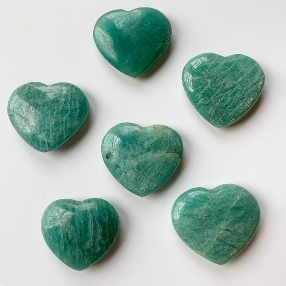 Beautiful Carved AMAZONITE Hearts Healing Gemstone// EXCELLENT Quality// Tumbled Stones// Healing Crystals// Love Crystals// Love Stone