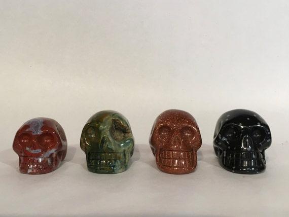Assorted Healing Crystal Skulls// Healing Gemstones// Home Decor// Healing Tools// Carved Skulls// Crystal Skull// Healing Crystals