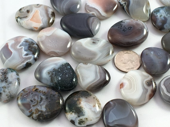 Beautiful Tumbled Bostwana Agate Healing Gemstone// Agate Pillows// Tumbled Stones// Tumbled Agate// Healing Crystals// Healing Tools