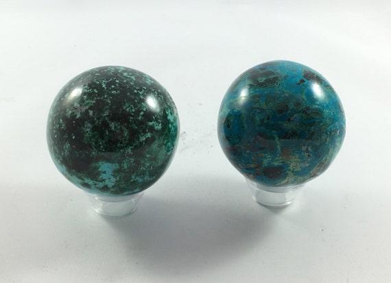 MALACHITE CHYRSOCOLLA SPHERE// Healing Gemstone// Chrysocolla// Malachite// Home Decor// Healing Tools// Polished Healing Crystals// Sphere