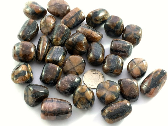 Beautiful Tumbled CHIASTOLITE Healing Gemstone// Tumbled Stones// Andalusite// Tumbled Chiastolite// Healing Crystals// Healing Tools
