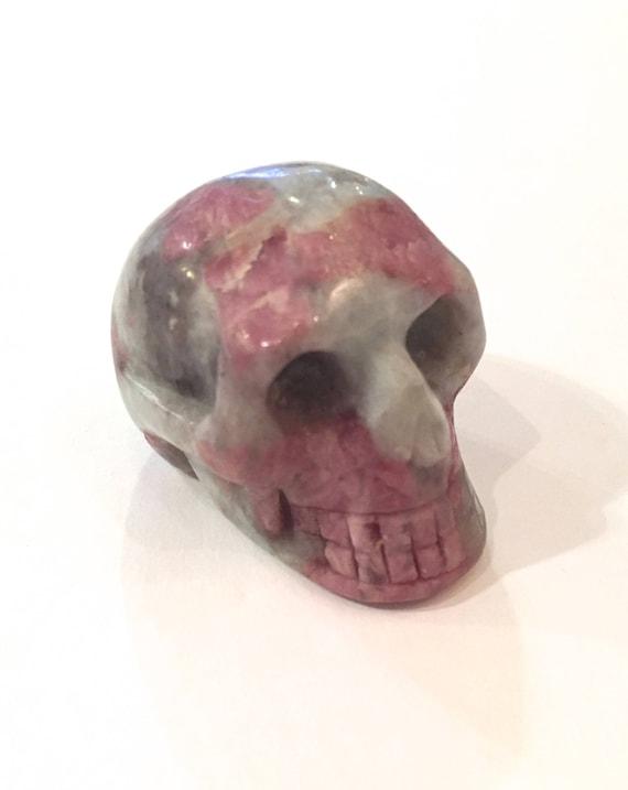 Rubellite in Quartz + Lepidolite Skulls/ Carved Skull// Healing Gemstones/ Home Decor// Healing Tools// Pink TOURMALINE// October Birthstone
