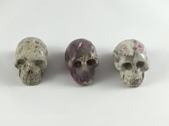 Assorted Healing Crystal Skulls// Healing Gemstones// Home Decor// Healing Tools// Crazy Lace Agate// Rubellite in Quartz + Lepidolite