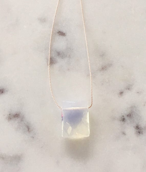 OPALITE Gem Drop Healing Necklace w/ Faceted Rectangular Bead on Silk Cord// BESOS JEWELRY by Amber// Layering Necklace// Healing Necklace