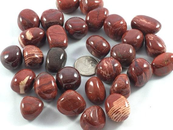 Beautiful Tumbled RED LINE JASPER Healing Gemstone// Tumbled Jasper// Tumbled Stones// Polished Jasper// Healing Crystals// Healing Tools