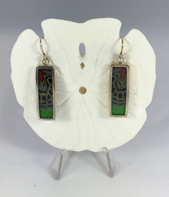 COLLAGED Butterfly Wing Earrings, Butterfly Wing Jewelry, AUTHENTIC Butterfly Wings, Eco Friendly Jewelry, Statement Jewelry