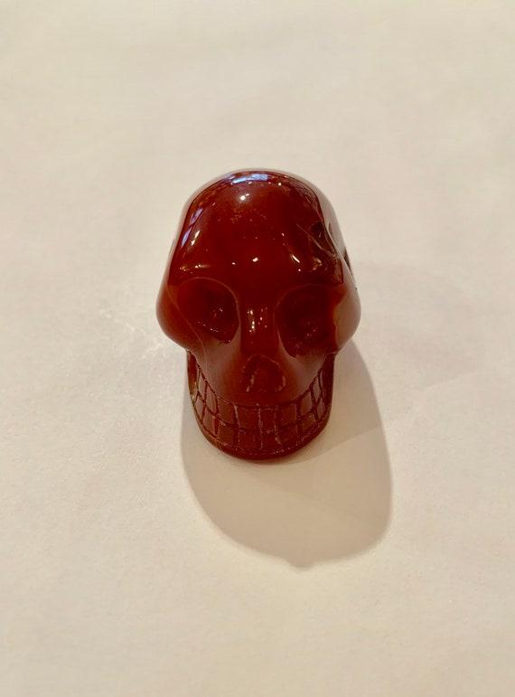 CARNELIAN Skull// Carved Skull// Healing Gemstones// Home Decor// Healing Tools// Sacral Chakra Stones// Halloween Decor// Carnelian
