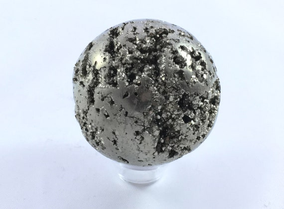 PYRITE SPHERE// Carved Pyrite Sphere// Healing Gemstone// Fools Good// Pyrite// Home Decor// Healing Tools// Raw Healing Crystals/ From Peru