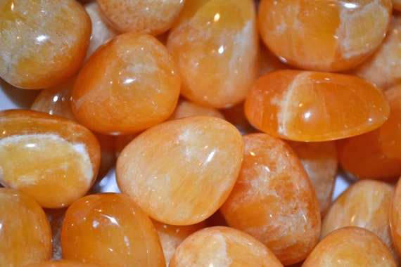 Beautiful Tumbled Orange Calcite Healing Gemstone// Tumbled Stones// Healing Crystals// Calcite// Naturally Oranage// 2nd Chakra// from Peru