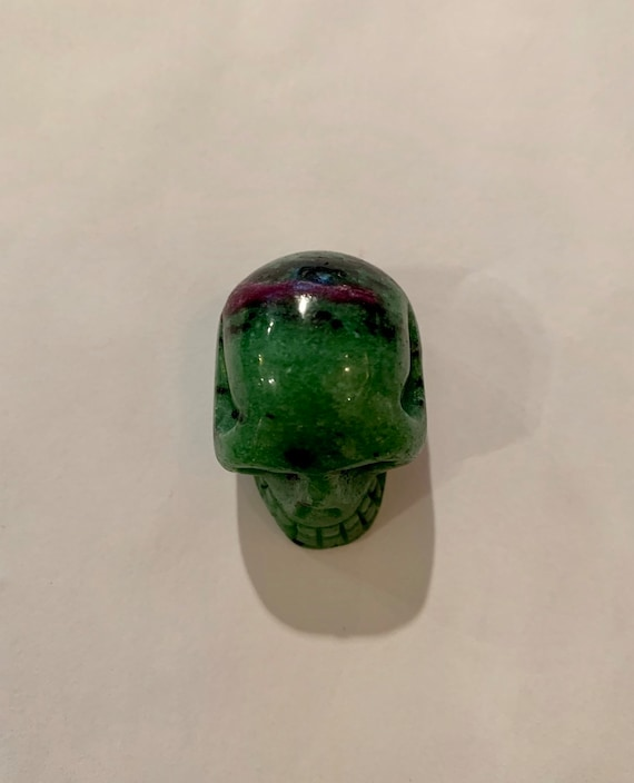 ZOISITE with RUBY Skull// Carved Skull// Healing Gemstones// Home Decor// Healing Tools// July Birthstone// Gemstone SKULL// Zoisite w/ Ruby