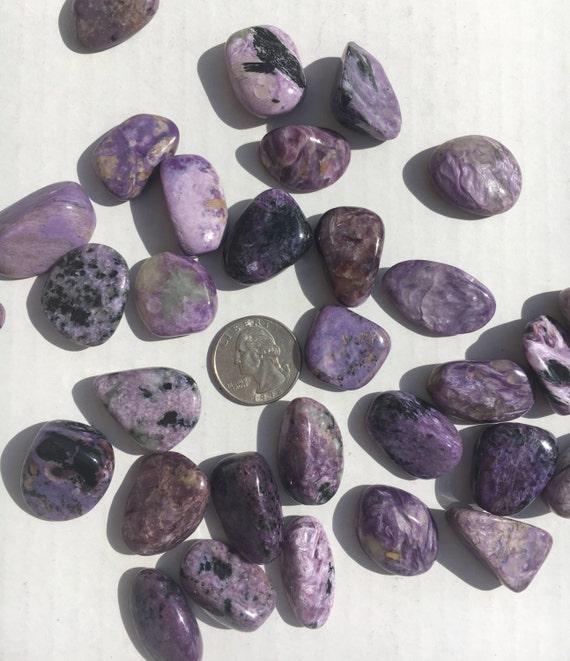 Beautiful Tumbled CHAROITE Healing Gemstone// Tumbled Purple Charoite// Tumbled Stones// Healing Crystals// Healing Tools// From Russia