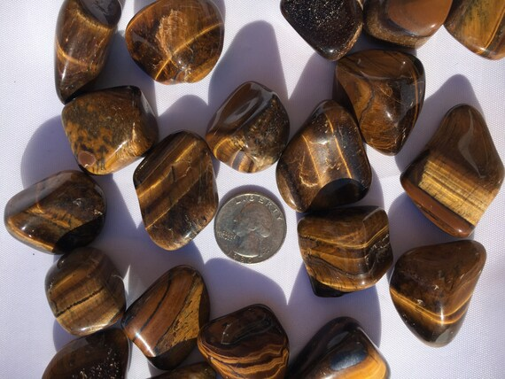 Beautiful Tumbled TIGER'S EYE Healing Gemstone// Yellow Tiger's Eye// Tumbled Stones// Tumbled Tiger's Eye// Healing Crystals//Healing Tools