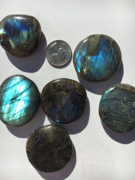 BEAUTIFUL Tumbled LABRADORITE Healing Gemstone// Polished Labradorite Pillows/ Healing Crystals// All Chakras/ Beautiful Natural Iridescence