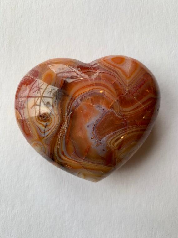 Beautiful Carved CARNELIAN Heart Healing Gemstone// Crystal HEART// Carved Heart Stones// Healing Crystals// Love Crystals// Sacral Chakra