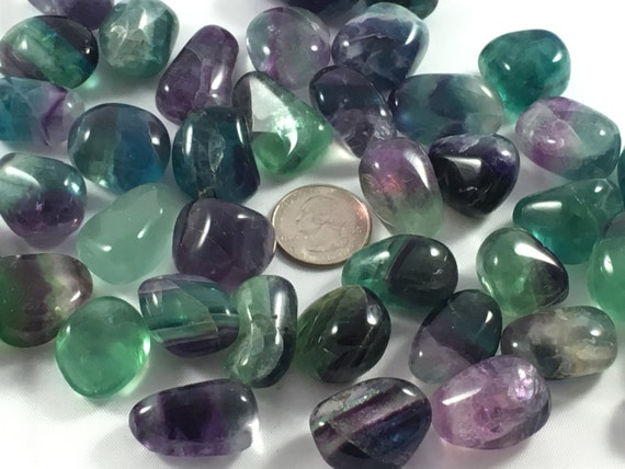 Beautiful Tumbled FLUORITE Healing Gemstone// Rainbow Fluorite// Tumbled Stones// Healing Crystals// Healing Tools// Stone of Mental Clarity
